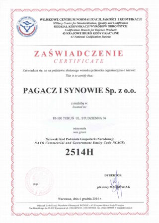 NCAGE 2514H Certificate