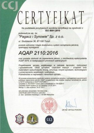 AQAP 2110:2016 Certificate
