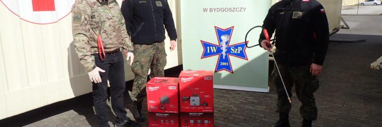 Przekazanie 1 Wojskowemu Szpitalowi Polowemu w Bydgoszczy elektrycznego opryskiwacza Milwaukee